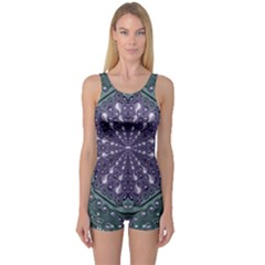Star And Flower Mandala In Wonderful Colors One Piece Boyleg Swimsuit