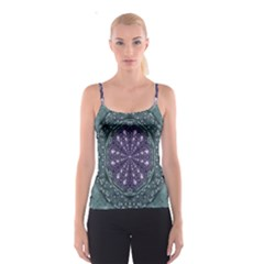 Star And Flower Mandala In Wonderful Colors Spaghetti Strap Top
