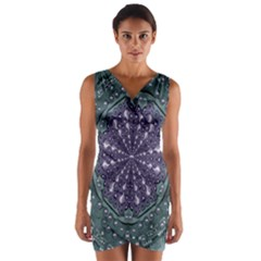 Star And Flower Mandala In Wonderful Colors Wrap Front Bodycon Dress