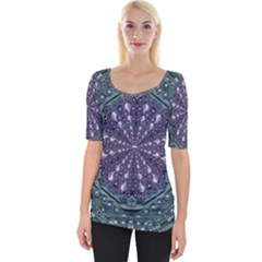 Star And Flower Mandala In Wonderful Colors Wide Neckline Tee