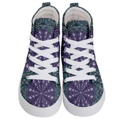 Star And Flower Mandala In Wonderful Colors Kid s Hi Top Skate Sneakers