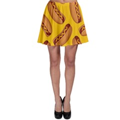 Hot Dog Seamless Pattern Skater Skirt