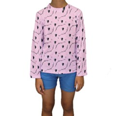 Love Hearth Pink Pattern Kids  Long Sleeve Swimwear