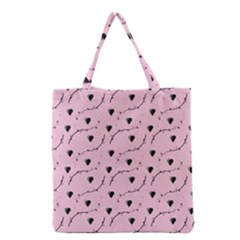 Love Hearth Pink Pattern Grocery Tote Bag