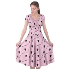 Love Hearth Pink Pattern Cap Sleeve Wrap Front Dress