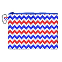 Zig Zag Pattern Canvas Cosmetic Bag (xl)