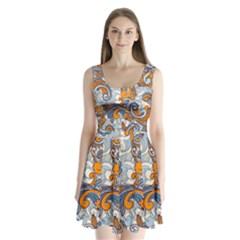Paisley Pattern Split Back Mini Dress