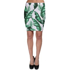 Banana Leaves And Fruit Isolated With Four Pattern Bodycon Skirt