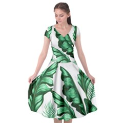 Banana Leaves And Fruit Isolated With Four Pattern Cap Sleeve Wrap Front Dress