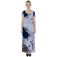 Winter Olympics High Waist Short Sleeve Maxi Dress