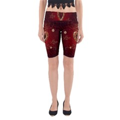 Wonderful Hearts With Floral Elemetns, Gold, Red Yoga Cropped Leggings