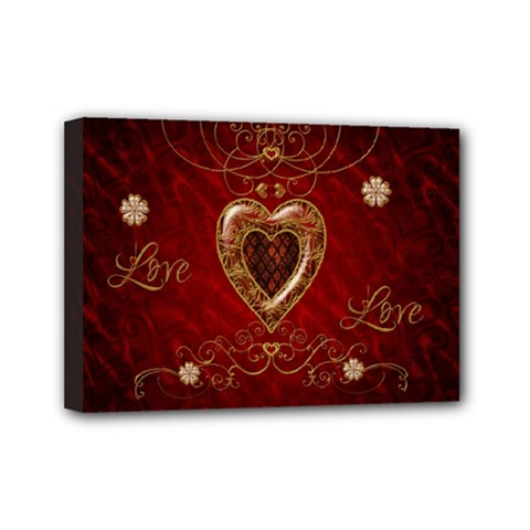 Wonderful Hearts With Floral Elemetns, Gold, Red Mini Canvas 7  X 5