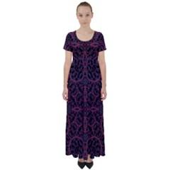 Modern Ornate Pattern High Waist Short Sleeve Maxi Dress