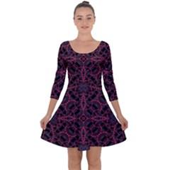 Modern Ornate Pattern Quarter Sleeve Skater Dress