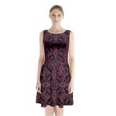 Modern Ornate Pattern Sleeveless Waist Tie Chiffon Dress