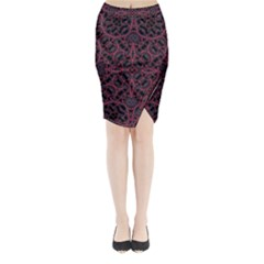 Modern Ornate Pattern Midi Wrap Pencil Skirt