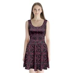 Modern Ornate Pattern Split Back Mini Dress
