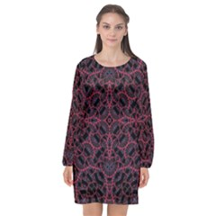 Modern Ornate Pattern Long Sleeve Chiffon Shift Dress