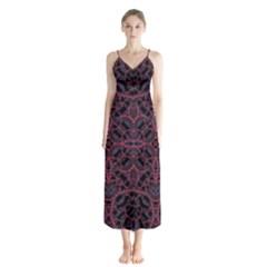 Modern Ornate Pattern Button Up Chiffon Maxi Dress
