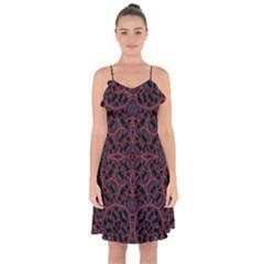 Modern Ornate Pattern Ruffle Detail Chiffon Dress