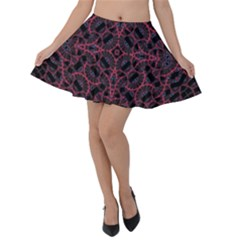 Modern Ornate Pattern Velvet Skater Skirt