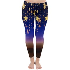 Christmas Background Star Curtain Classic Winter Leggings