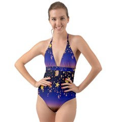 Christmas Background Star Curtain Halter Cut Out One Piece Swimsuit