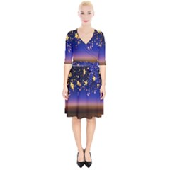 Christmas Background Star Curtain Wrap Up Cocktail Dress