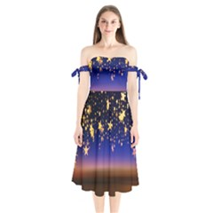 Christmas Background Star Curtain Shoulder Tie Bardot Midi Dress