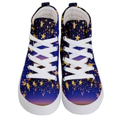 Christmas Background Star Curtain Kid s Hi Top Skate Sneakers