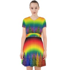 Christmas Colorful Rainbow Colors Adorable In Chiffon Dress