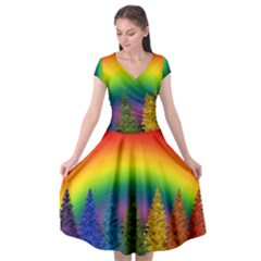 Christmas Colorful Rainbow Colors Cap Sleeve Wrap Front Dress