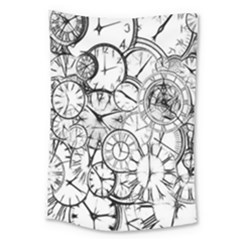 Time Clock Watches Time Of Large Tapestry