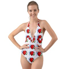 Cross Heart Anchor Love Hope Halter Cut Out One Piece Swimsuit