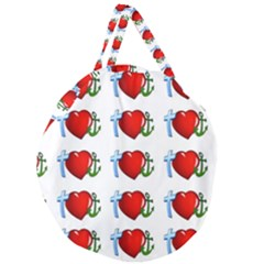 Cross Heart Anchor Love Hope Giant Round Zipper Tote