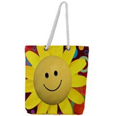 Sun Laugh Rays Luck Happy Full Print Rope Handle Tote (large)