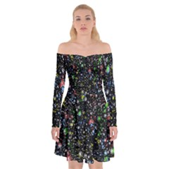 Universe Star Planet All Colorful Off Shoulder Skater Dress