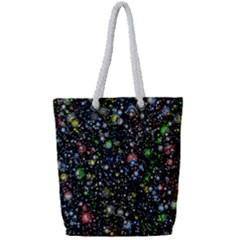 Universe Star Planet All Colorful Full Print Rope Handle Tote (small)