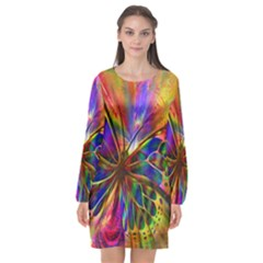 Arrangement Butterfly Aesthetics Long Sleeve Chiffon Shift Dress