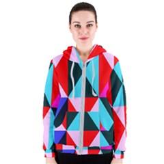 Geometric Pattern Women s Zipper Hoodie