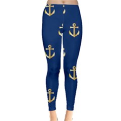 Gold Anchors Background Leggings