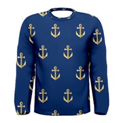 Gold Anchors Background Men s Long Sleeve Tee