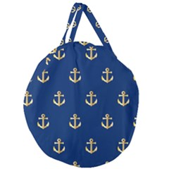 Gold Anchors Background Giant Round Zipper Tote