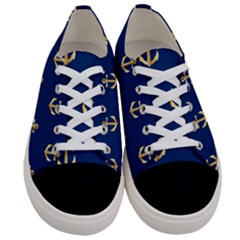 Gold Anchors Background Women s Low Top Canvas Sneakers