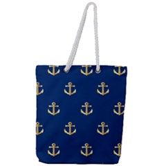 Gold Anchors Background Full Print Rope Handle Tote (large)