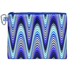 Waves Wavy Blue Pale Cobalt Navy Canvas Cosmetic Bag (xxl)