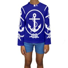 Anchor Flag Blue Background Kids  Long Sleeve Swimwear