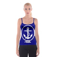 Anchor Flag Blue Background Spaghetti Strap Top
