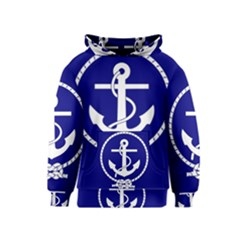Anchor Flag Blue Background Kids  Pullover Hoodie
