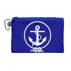 Anchor Flag Blue Background Canvas Cosmetic Bag (large)